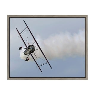 Sylvie Crop Dusting Airplane Framed Canvas Wall Art, Gray 18 x 24