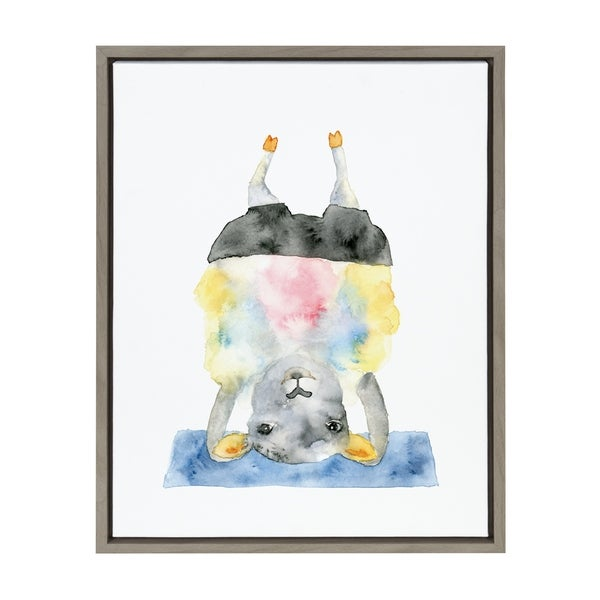 Sylvie Watercolor Sheep Doing Yoga Framed Canvas Art, Gray 18 x 24