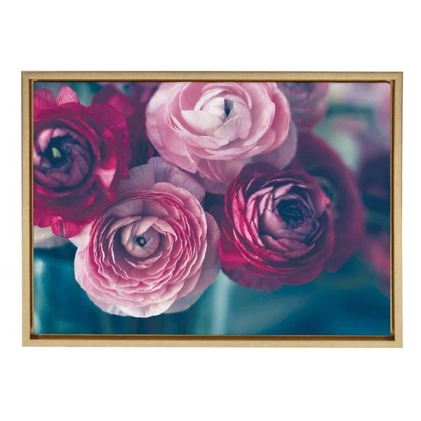 Sylvie Pink Flower Bouquet Framed Canvas Wall Art, Gold 18 x 24