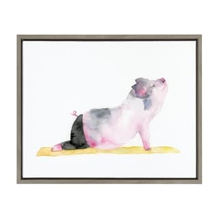 Sylvie Watercolor Pig Doing Yoga Framed Canvas Art, Gray 18 x 24