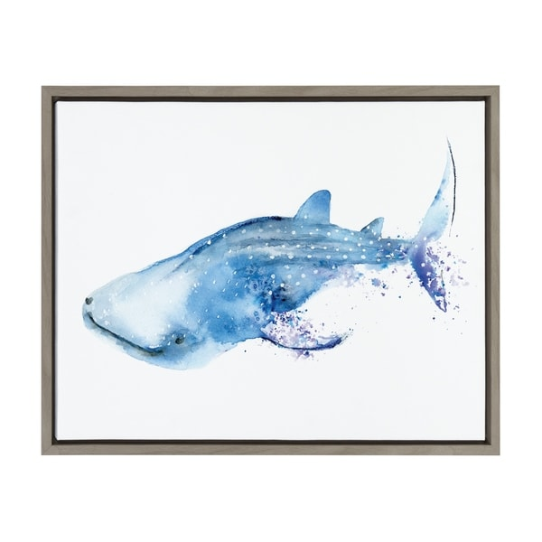 Sylvie Watercolor Swimming Whale Shark Framed Canvas Art, Gray 18 x 24