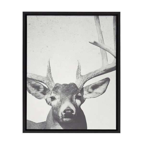 Sylvie Male Deer with Antlers Framed Canvas Wall Art, Black 18 x 24