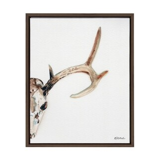 Sylvie Watercolor Deer Skull Framed Canvas Art, Mid-tone Brown 18 x 24 - N/A