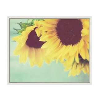 Sylvie Closeup of Sunflowers Framed Canvas Wall Art, White 18 x 24