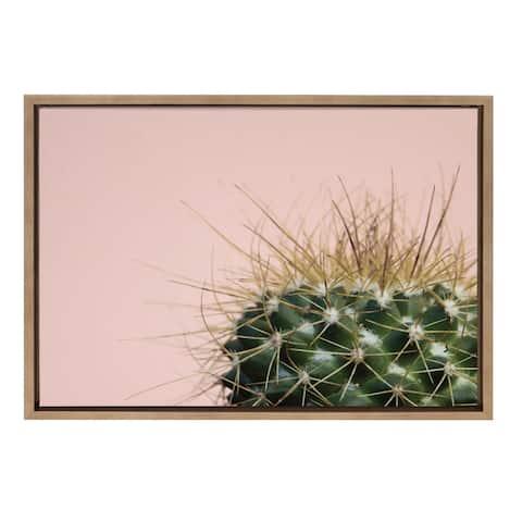 Sylvie Botanical, Cactus Framed Canvas Wall Art, Gold 18 x 24