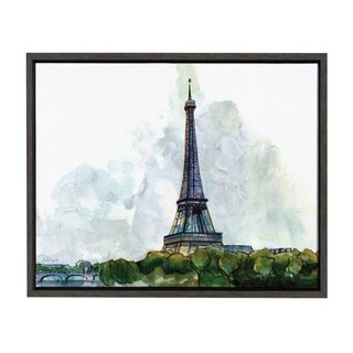 Sylvie Watercolor Eiffel Tower Framed Canvas Art, Dark Gray 18 x 24