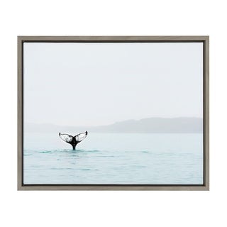 Sylvie Whale Tail in the Ocean Framed Canvas Art, Gray 18 x 24