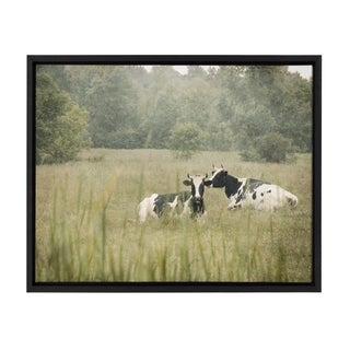 Sylvie Cows in a Field Framed Canvas Wall Art, Black 18 x 24