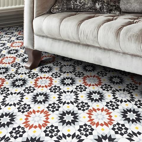 Handmade Semara in Black, Red, Grey Tile, Pack of 12 (Morocco)