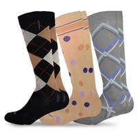 TeeHee Microfiber Compression Knee High Socks w/ Rib 3-Pack Pattern