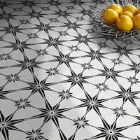 Tafilalt in Black and White Handmade 8x8-inch Moroccan Tile (Pack 12)