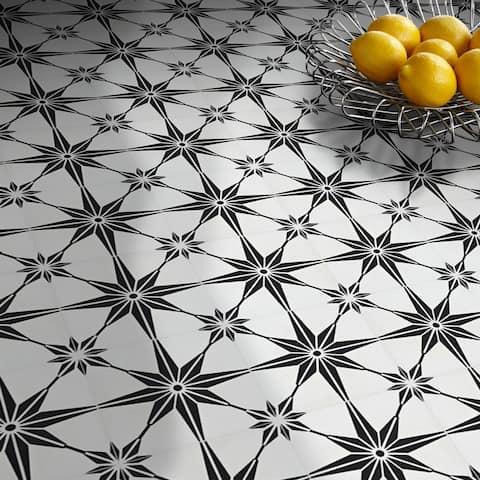 Handmade Tafilalt in White and Black Tile, Pack of 12 (Morocco)