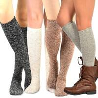 Teehee Women's Fashion Pointelle Cotton Knee High Socks - 4 Pairs Pack