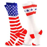 TeeHee American Flag Women's Knee High Socks - Stars & Stripes 2-Pack
