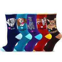 TeeHee Women's Fun Dogs Cotton Crew Socks 5-Pack