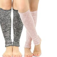 TeeHee Women's Fashion Leg Warmers Loose Bottom 2-Pack Assorted Colors