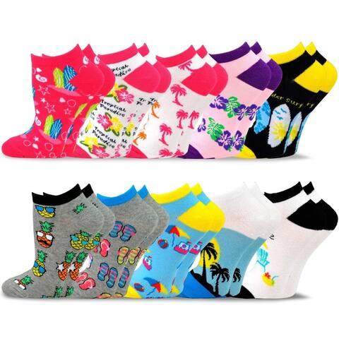 TeeHee Womens Valued 9+1 Pack Fashion No Show Cotton Socks