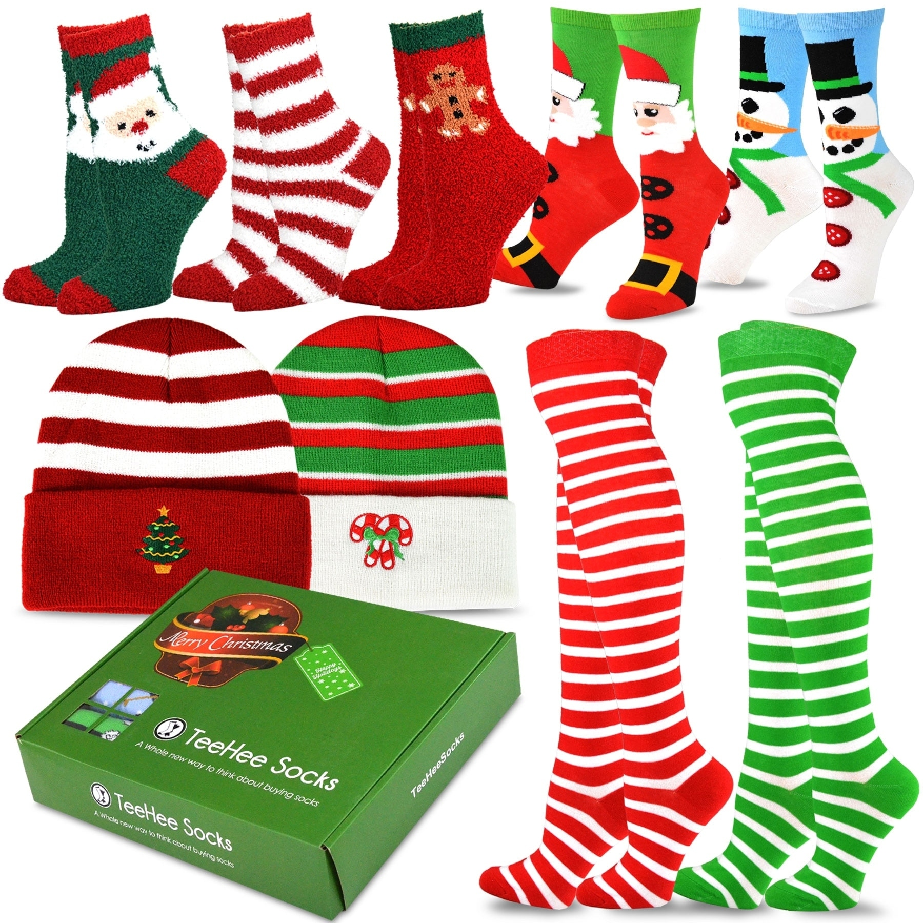 Shop Teehee Christmas Holiday Fun Knee High Socks 9 Pack With Gift Box Christmas Holiday On Sale Overstock 20390295