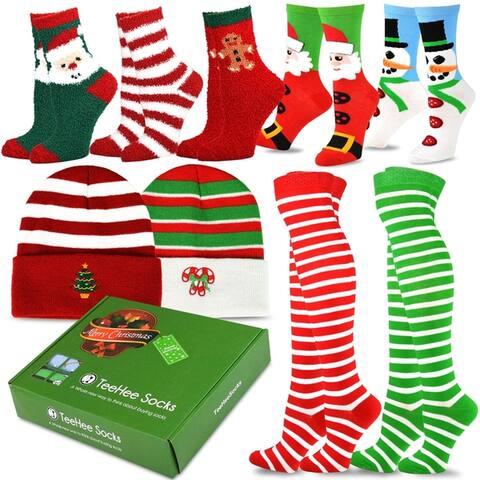 TeeHee Christmas Holiday Fun Knee High Socks 9-Pack with Gift Box (Christmas Holiday)