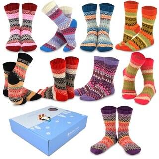 TeeHee Winter Crew Fun Socks for Women 9-Pack with Gift Box