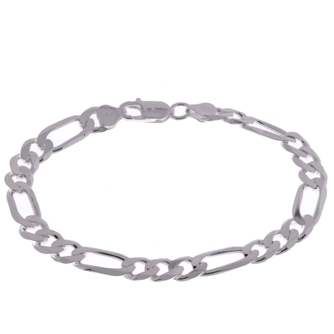 Sterling Essentials Italian Silver 8 mm Diamond-Cut Figaro Bracelet (9 Inch)