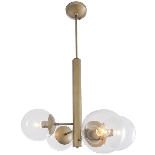 Rogue Decor Mid-Century 4-light Antique Brass Chandelier - Gold