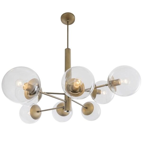 Rogue Decor Mid-Century 8-light Antique Brass Chandelier - Gold