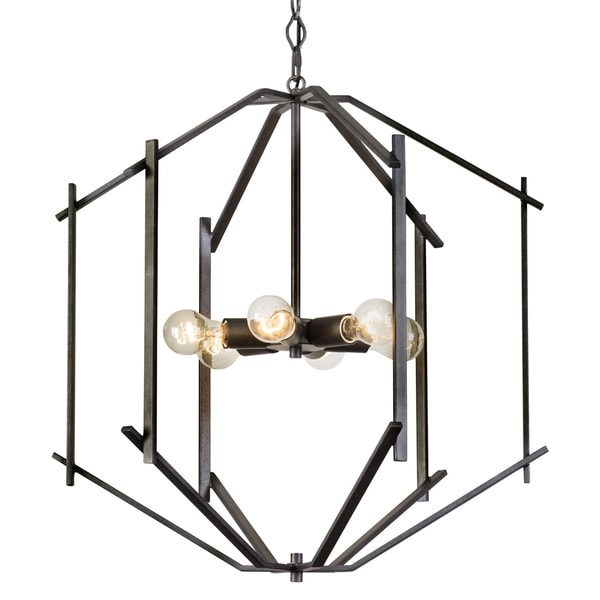 Rogue Decor Offset 6-light Forged Iron Pendant - Black