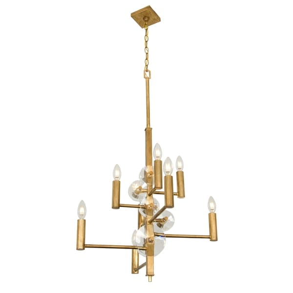 Rogue Decor Engeared 8-light Antiqued Gold Leaf Chandelier