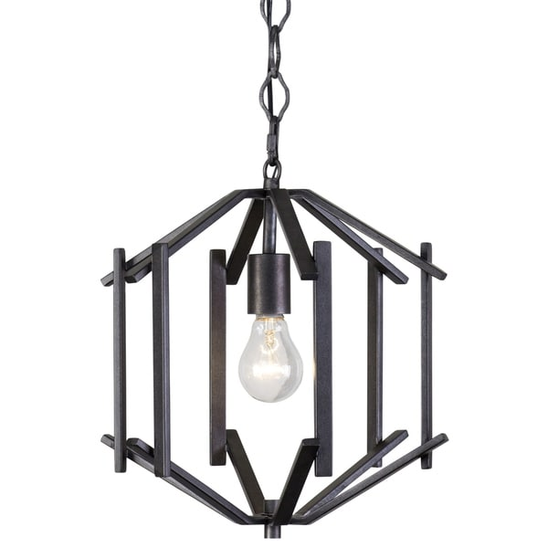 Rogue Decor Offset 1-light Forged Iron Pendant - Black