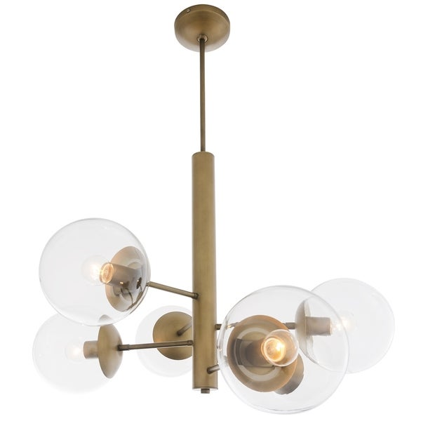 Rogue Decor Mid-Century 6-light Antique Brass Chandelier - Gold