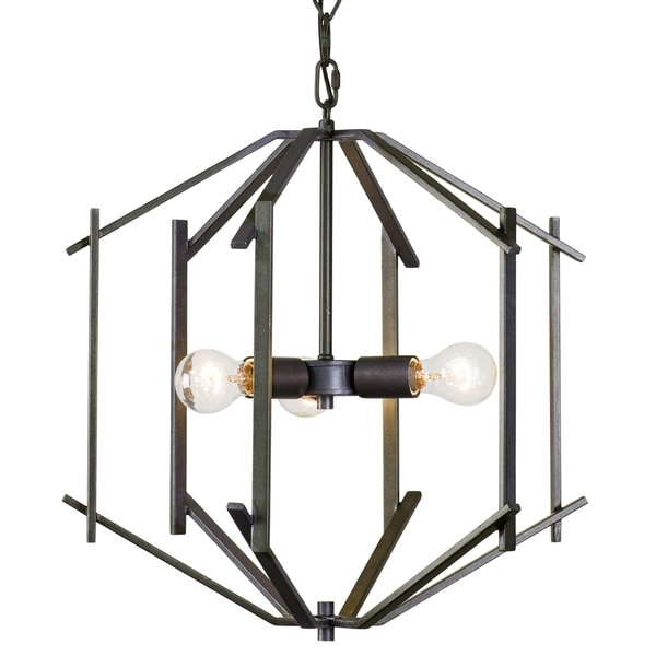 Rogue Decor Offset 3-light Forged Iron Pendant - Black