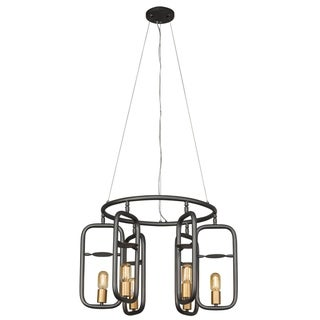 Loophole 6-light Rustic Bronze/Gold Pendant - Black/Gold