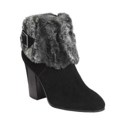 Women's Aerosoles North Square Ankle Boot Black Suede/Faux Fur