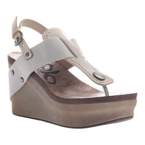Women's OTBT Joyride Wedge Sandal Dove Grey Leather/Textile