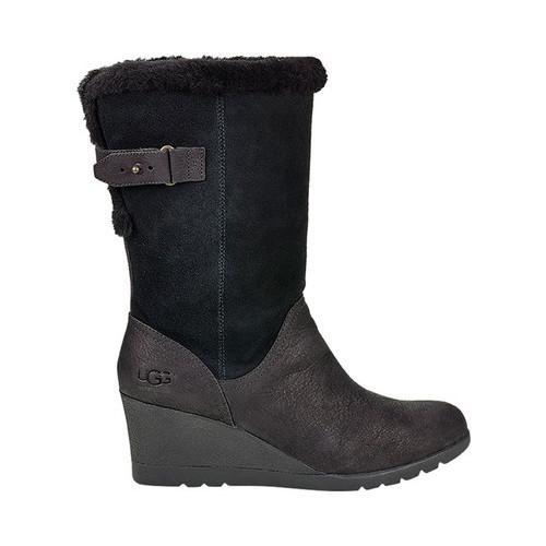 14738aa70c41 Shop Women s UGG Edelina Wedge Winter Boot Black Leather - Free Shipping  Today - Overstock - 18021300