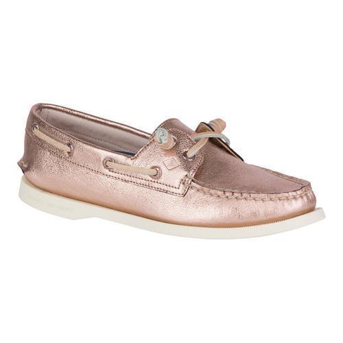 Vida Boat Shoe Rose Gold Leather