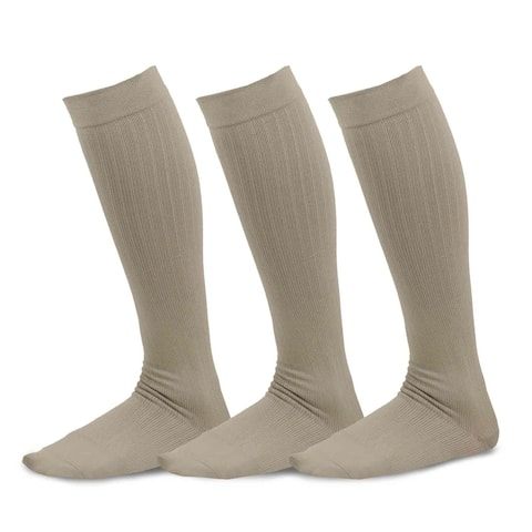 TeeHee Bamboo Compression Knee High Socks Rib 3-Pack (Taupe)