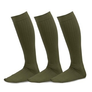 TeeHee Viscose from Bamboo Compression Knee High Socks with Rib 3-Pack (Olive)