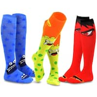 TeeHee Novelty Cotton Knee High Fun Socks 3-Pack for Junior and Women (Monster-A)