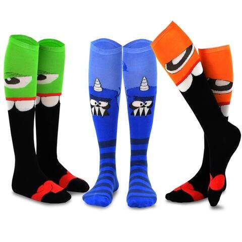 TeeHee Novelty Cotton Knee High Socks 3-Pack Junior Women Monster-C