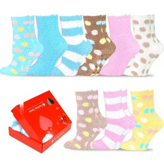 TeeHee Winter Holiday Cozy Fuzzy Fluffy Fun Slipper Socks 9-Pack with Gift Box