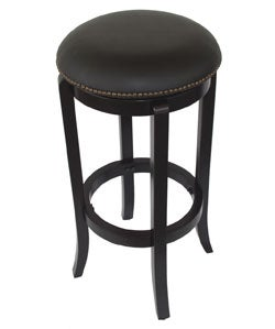 York Faux-leather Nailhead Swivel Barstool - Thumbnail 1