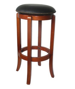 York Faux-leather Nailhead Swivel Barstool - Thumbnail 2