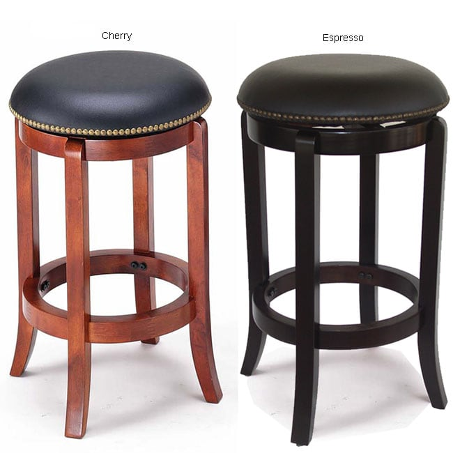 York Faux-leather Nailhead Swivel Counter Stool (24 in. H)