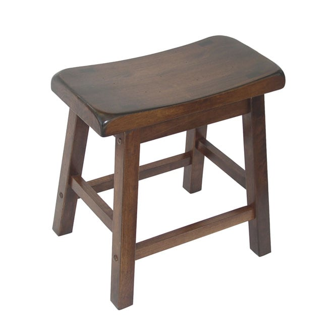Prime Walnut Stained Wood 18 Inch Saddle Seat Barstools Set Of 2 Machost Co Dining Chair Design Ideas Machostcouk