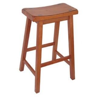 ***** RECORDS Saddle Seat 29-inch Bar Stools (Set of 2) (Honey Finish - Honey Oak)