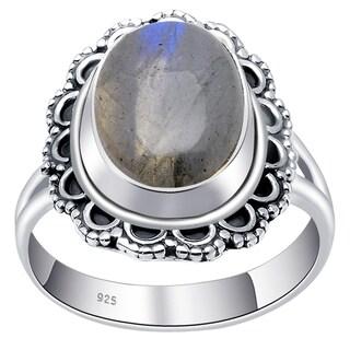 Handmade Vintage Inspired Oval Gemstone Sterling Silver Ring