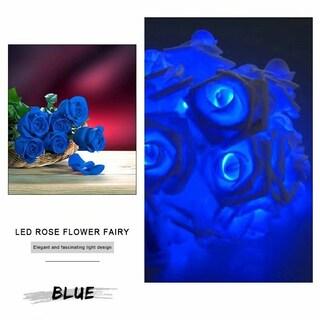 20 LED Rose Flower Fairy LED String Light for Garden Tree Holiday Party Wedding Decoration (Option: Blue)