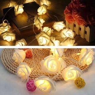 20 LED Rose Flower Fairy LED String Light for Garden Tree Holiday Party Wedding Decoration